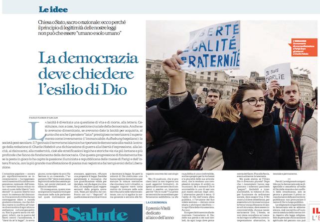 """se """"REPUBBLICA"""" vuole l'esilio di Dio – articolo di Mario Adinolfi"""