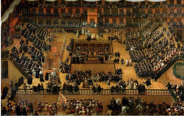 FRANCISCO RIZI: AUTO DE FE IN PLAZA MAYOR DI MADRID  1683 - Olio su tela - 277 x 438 cm – Museo del Prado Madrid