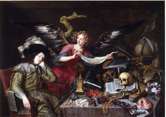 ANTONIO DE PEREDA Y SALGADO: IL SOGNO DI UN CAVALIERE  1650 – olio su tela – 152 x 217 cm - Real Academia de Bellas Artes de S. Fernando - Madrid