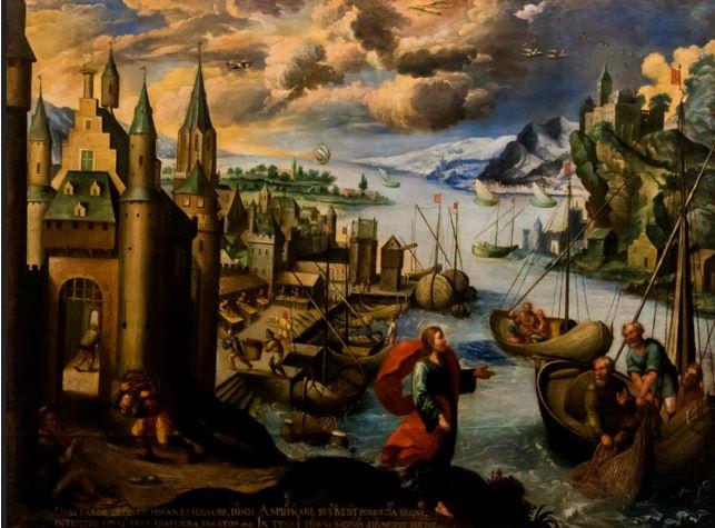 DIEGO QUISPE TITO: SERIE DELLO ZODIACO – I PESCI – CHIAMATA DEGLI APOSTOLI 1681- Olio su tela - 140 x 185 cm – Arzobispado del Cuzco - Perù