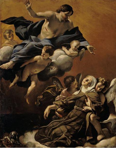 GIOVANNI LANFRANCO: ESTASI DI S. MARGHERITA DA CORTONA 1622 - olio su tela–230 x 185 cm - Galleria di Palazzo Pitti – Firenze