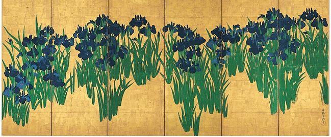 OGATA KŌRIN: PARAVENTO CON IRIS 1701 / '02 – Paravento composto da 6 pannelli di 151,2 x 358,8 cm – Museo di arte di Nezu.