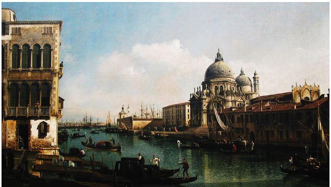 BERNARDO BELLOTTO: INGRESSO LA CANAL GRANDE 1741 - Olio su tela – 59 x 94 – Fitzwilliam Museum University of Cambridge Gran Bretagna