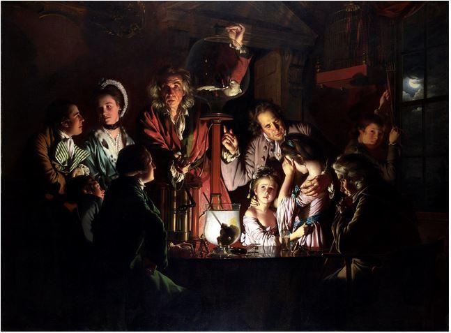 JOSEPH WRIGHT DI DERBY: ESPERIMENTO CON UNA POMPA AD ARIA 1768 – olio su tela – 183 × 244 cm - National Gallery – Londra