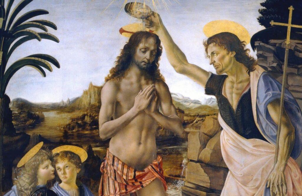 nell'immagine un dipinto del Verrocchio che ritrae il Battesimo di Gesù